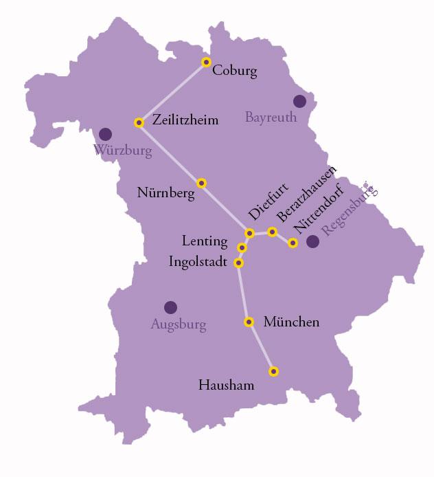 Karte der Radtour zu den Wirkungsstätten Argula von Grumbachs